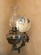 Antique Victorian Style Wall Mount Kerosene Lantern and Holder