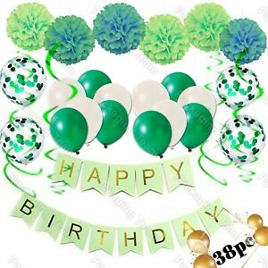 41pcs HAPPY BIRTHDAY BUNTING BANNERS PASTEL GARLAND FOIL LATEX BALLOONS DECORS