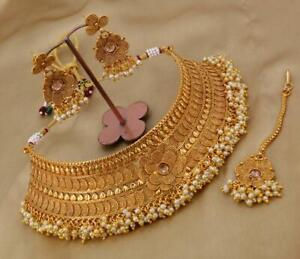 Gold Plated Pearl Choker Necklace Set Bollywood Bridal Indian Fashion Jewelry UY