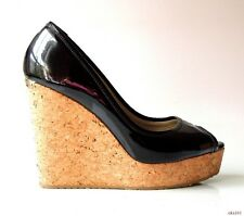 new JIMMY CHOO black patent leather open-toe cork logo wedges shoes 39.5 9.5