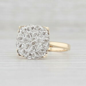Vintage Diamond Accented Ring 10k White Yellow Gold Size 6.5 Engagement Style