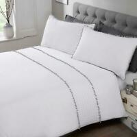 White Duvet Covers Grey Pom Poms Trim Modern Quilt Cover Bedding Sets
