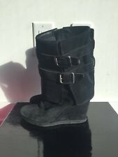 JUICY COUTURE DALE MID-CALF BLACK LEATHER SUEDE WEDGE BOOTS BOOTIES 6.5 US WOMEN