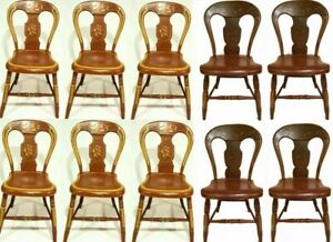 19th Century Genuine Federal Pennsylvania Fancy Painted Set 10 Chairs