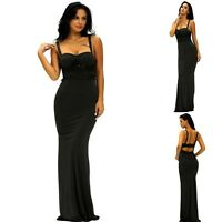 Sz 12 14 Sleeveless Lace Slim Maxi Formal Prom Wedding Party Gown Evening Dress