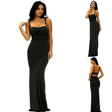 Sz 10 12 Sleeveless Lace Slim Maxi Formal Prom Wedding Party Gown Evening Dress