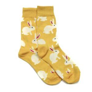 YELLOW socks cute bunny bold design Lucky Pair UK SIZE 4-8 men women novelty