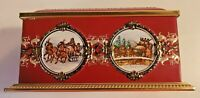 Klann Quality Tin Box Western Germany Decorative Maroon Gold Hinged Lid Carriage