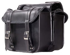 SMALLER SIZE PV LEATHER MOTORCYCLE 'BRIEFCASE' SADDLEBAGS w/BRAID UNIVERSAL FIT