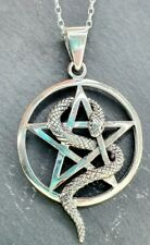 Solid Sterling Silver 925 Pentagram Snake Star Circle Pendant Necklace Chain.