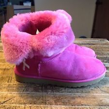 Women's UGG Pink Breast Cancer Bailey Button Boots size 10