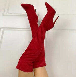 Women Stretch Over The Knee Boots Party Pull On Shoes Pointed Toe Stiletto Heels