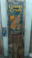 Vintage Original Orange Crush Soda Pop Bottle Tin Metal Sign Floral