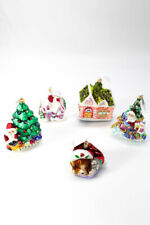 Christopher Radko Hand Painted Porcelain House Tree Christmas Ornaments Lot 5