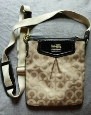 Coach Khaki/Brown Signature Op Art Madison Swingpack Crossbody Bag Purse #43430