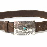 Tony Lama Navajo Spirit Turquoise Silver Buckle Sz 30 Tooled Brown Leather Belt