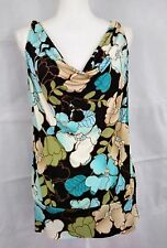 My Michelle womens size XL blue/black/tan slevveless 92% polyester stretch top