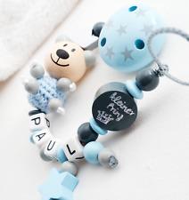 Schnullerkette mit Namen ♥ kleiner Prinz ♥ Teddy ♥ Baby Junge Geburt blau ♥ Clip