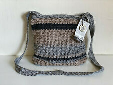 THE SAK RIVIERA CROCHET HARMONY STRIPE MEDIUM SLOUCH HOBO CROSSBODY SLING BAG