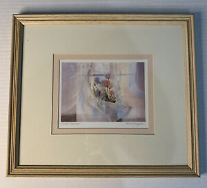 """Brent Heighton Print 5x7 Watercolor """"Veiled Flowers"""" pencil-signed Framed 11x14"""