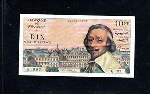 Billet 10 Nouveaux Francs Richelieu 01/02/62 TTB+ Fay 57-17