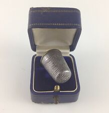 German Antique Collectible WW1 Thimble w/ Beautiful Blue Case