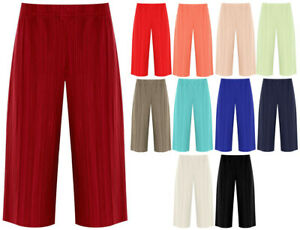 Ladies Womens Plus Elasticated Culottes Stretch Fit Baggy Shorts Pleated Pants
