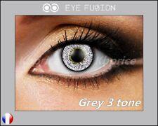 LENTILLES DE CONTACT COULEUR GRISE grey 3 tone + étui.