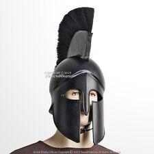 Black Wearable Greek Spartan Battle Helmet w/ Plume 20G Steel LARP Cosplay