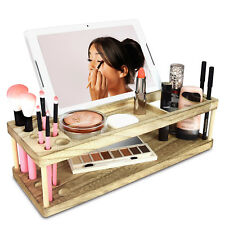 Wooden Beauty Station Makeup Organizer With Phone Station