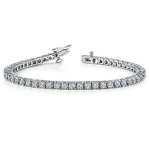 4.00 ct round cut white gold 14k diamond tennis bracelet D VVS2 NOT ENHANCED