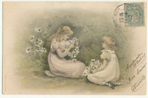 French illustrated postcard 1905 - little girls with flowers