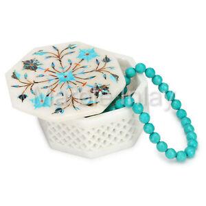 Jewelry Box Octagon Turquoise Stone Trinket Box White Marble Inlay Handmade Art