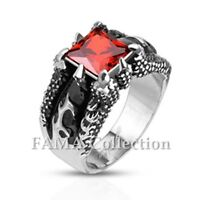 FAMA Stainless Steel Dragon Claw Set Ruby Red Square Gem Cast Ring Size 9-13