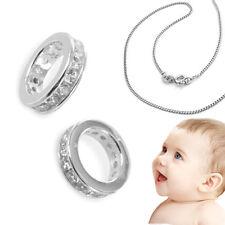 Patengeschenk Baby Taufe Zirkonia Taufring Silber 925rhodiniert mit Kinder Kette