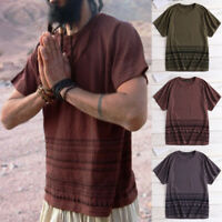 Summer Men's African Dashiki Shirt Hippy Beach Tops Party Dress T shirt Blouse