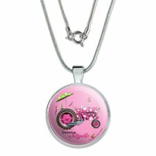 "Farm Tractor Country Style Pink Farming 1"" Pendant w/ Silver Plated Chain"