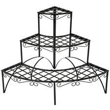 Etagère de jardin pour plantes escalier d'angle ronde 3 niveaux env. 60x60x60cm