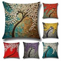 Flower Print Linen Cotton Throw Pillows Case Cushion Cover Home Sofa Decor US