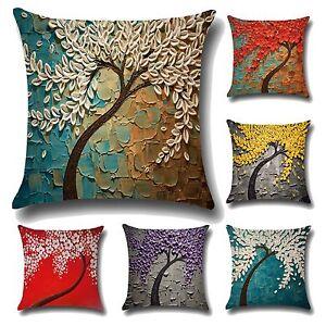 3D Flowers Tree Pillows Case Cotton Linen Cushion Covers Sofa Throw Home Decor