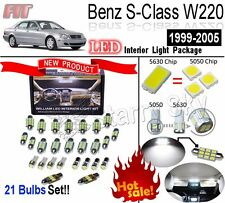 21 Bulbs Xenon White 5630 LED Interior Light Kit For Benz S-Class W220 1999-2005