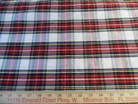 "100% SILK LARGE SCALE TARTAN PLAID~RED/WHITE/BLACK/YELLOW~12""x45""~DOLL FABRIC"