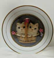 Vintage 3D Fuzzy Kittens in  Basket Under Glass Dome On Ceramic Plate Gold Trim