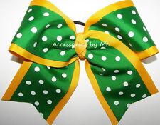 Cheer Bow Green Yellow Gold Ribbon 6 Inch Dance Cheerleader Softball Volleyball