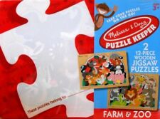 "PUZZLE - JIGSAW MELISSA & DOUG PUZZLE KEEPER ""FARM & ZOO"" 12 PIECES - NIP!"