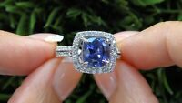 3Ct Cushion-Cut Blue Sapphire Diamond Halo Engagement Ring 14k White Gold Over