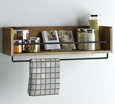 Rustic Kitchen Wood Wall Shelf with Metal Rail Also Multi Use Can Be Used As a ,