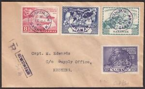 Sarawak 1949 KGVI 75th Anniv of UPU Registered First Day Cover Used SIMUNJAN pmk