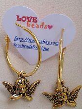 Gold Lever Back Hoop Dangle Cherub Angel Earrings. Love. Romance. Holiday