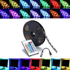 1M 2M 3M SMD5050 RGB LED Strip Lamp Bar TV Backlilghting Kit+USB Remote Control